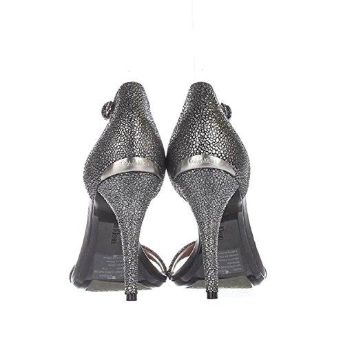 Calvin Klein Donna Nasi In Pelle Open Toe Sand Sandali Con Cinturino Speciale Grigio Ombra
