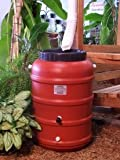 53 Gallon Terra Cotta colored plastic rain barrel