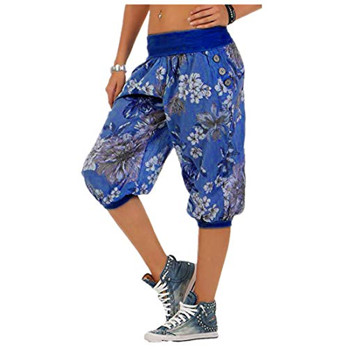 - vermers Women Fashion Print Threaded Pants - Women Casual Loose Bandwidth Wide-Leg Pants Trousers(XL, Blue)