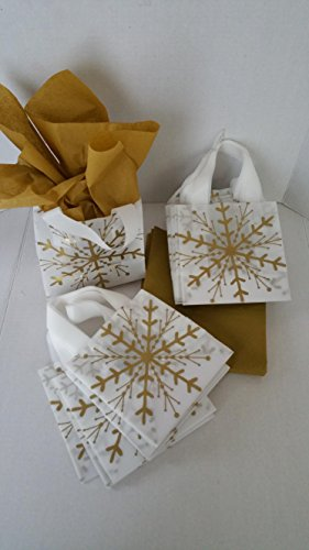 20 Gold Snowflake Gift Shopping Bags Small 6x6x3 Inches includes 24 Sheets Antique Gold Tissue ()
