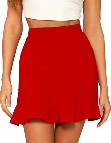 WDIRARA Women's Elegant Mid Waist Above Knee Ruffle Hem Casual Skirt