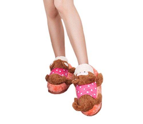 DELEY las Mujeres de dibujos animados de acostarse Animal de Peluche Zapatillas de Casa de un adulto Zapatos de Regalo de Navidad Mono