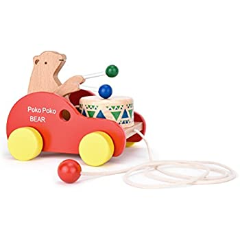 """Wooden Pull Along Toy, Safe&Care Kids Creative Educational Toy Bear Drum Solid Wood Pull Toys for Toddlers & Baby Girl Boy with 37.4"""" Long Sturdy String Attached to Bear Animal"""