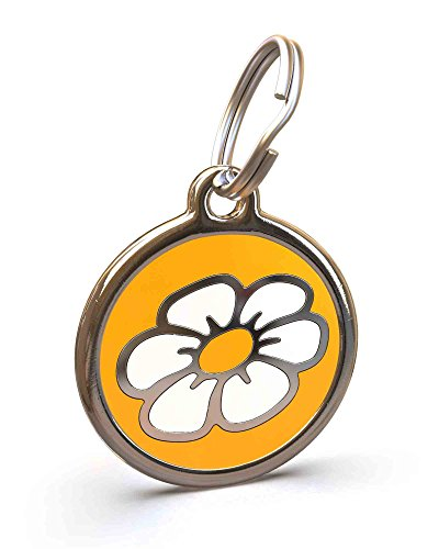 - UNLEASHED.DOG Customizable Engraved Cat/Dog ID Tag - Stainless Steel with Daisy Enamel Inlay - Yellow | Small