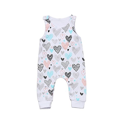 Newborn Baby boy Girl Romper Jumpsuit Sleeveless Animal Cartoon Print Bodysuit Overalls Outfits Clothes (White-Heart, 6-9 Months)