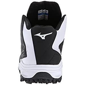 Mizuno Men's 9 Spike ADV Erupt 3 Mid Softball Cleat, Black/White, 8.5 M US