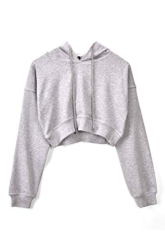 Sólidos Manga De Mujer Tops Pullover Gris Hoodie Sudadera Cosecha Larga Casual xwPZOAfq