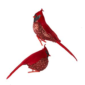 Club Pack of 12 Glittered Red Cardinal Bird Clip-On Christmas Ornaments