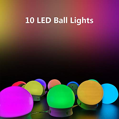 Wishwill LED String Lights, 18ft 10 LED Waterproof Ball Lights, 36 Lighting Modes, USB Powered Starry Fairy String Lights for Bedroom, Garden, Christmas Tree, Wedding, Party, Holiday