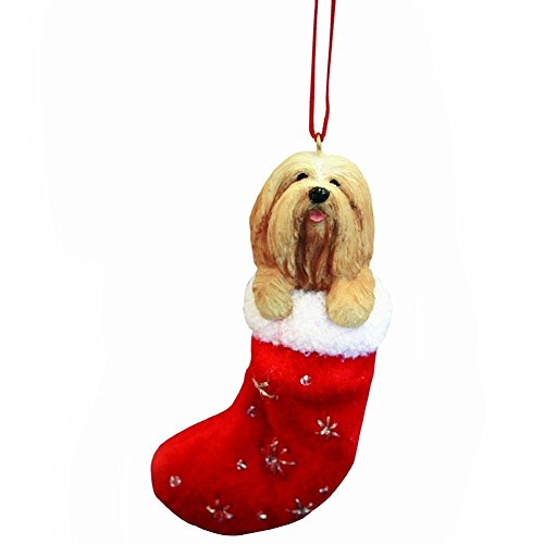 Lhasa Apso Christmas Stocking Ornament with