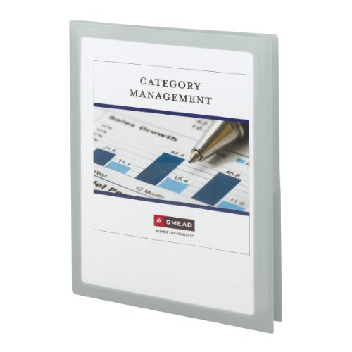 Smead Frame View Poly Two-Pocket Folder, Holds up to 100 Sheets, Letter Size, Oyster, 5 per Pack (87706)