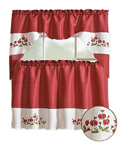 3 Piece Kitchen/cafe window Curtain Tier/panel and Swag Set