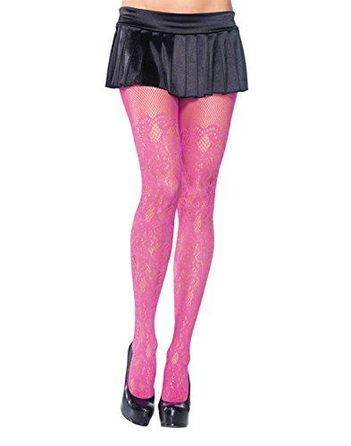 Leg Avenue Women's Vine Net Pantyhose, Hot Pink, One Size -