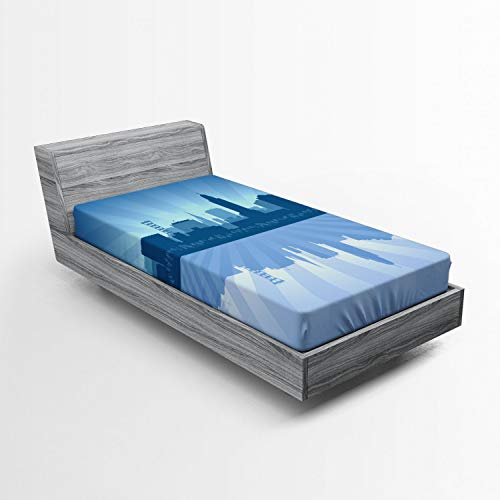 Ambesonne Nebraska Fitted Sheet, Lincoln City Skyline Silhouette Illustration in Blue Metropolis Buildings, Soft Decorative Fabric Bedding All-Round Elastic Pocket, Twin Size, Blue and Ceil Blue