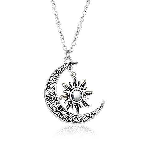 - DWCLY Celtic Moon and Sun Necklace Vintage Silver Cresent Sun Charm Necklace Universe Necklace