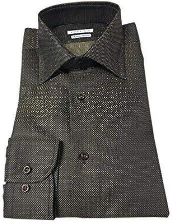 RODRIGO Camisa De Hombre Marrón oscuro Operado chaleco. 100 % Algodón Made in Italy (41-16-L): Amazon.es: Ropa y accesorios
