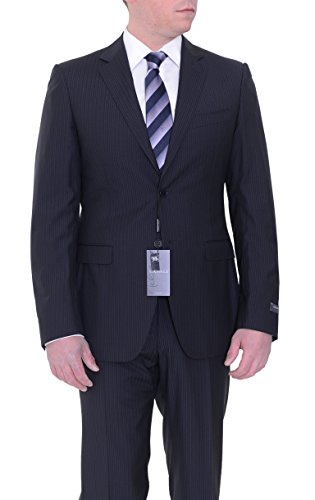 Canali Milano Drop 8 Extra Slim Fit 40R 50 Black Striped for sale  Delivered anywhere in USA