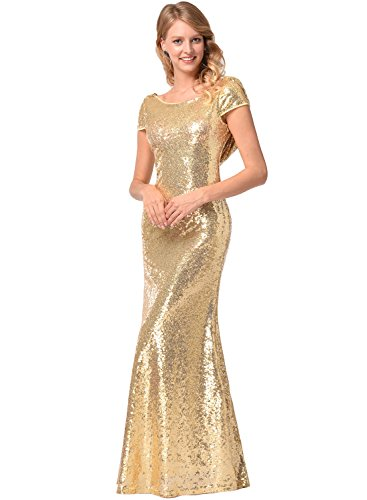 Ruiyige Women's Sequins Long Dress Sexy Slinky Backless Bridesmaid Wedding Dress Gold L (Sexy Gold Sequin)
