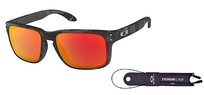 83a3af554e Oakley Holbrook OO9102 9102E9 57M Black Camo Prizm Ruby Sunglasses For Men  For Women+ BUNDLE