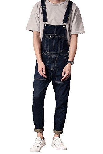 Denim Men's Casual Slim Denim Bib Pocket Vintage Jumpsuits Blue Black Size 29 - Vintage Overalls