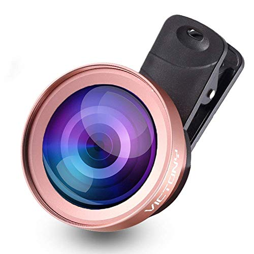VICTONY 2 in 1 Phone Lens,Phone Camera Lens Kit Clip-On Universal Phone Lens 52mm Diameter Lens iPhone, Samsung Mobile Phone (Rose Gold)