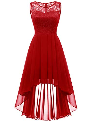 Dressystar 0038 Floral Lace Hi-Lo Bridesmaid Dress Formal Wedding Maxi Dress M Red (Red Dresses For Bridesmaid)