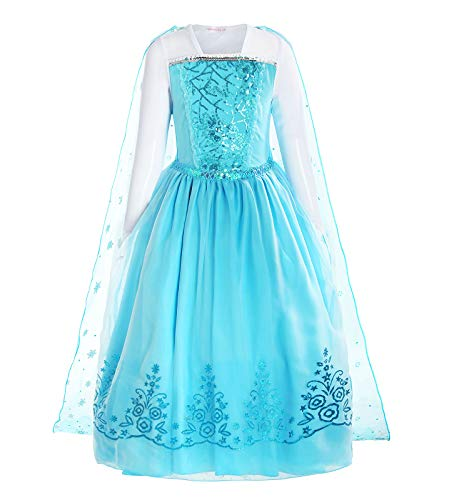 ReliBeauty Girls Sequin Princess Elsa Costume Long Sleeve Dress up, Light Blue, 7(150) -