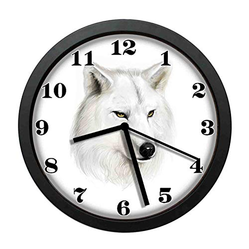 wojuedehuidamai6 Art Wall Clock- White Canine Head with Great Detail Hunter Mammal Wildlife Nature Scene Art Decor Wall Clock for Home and Office with 12in