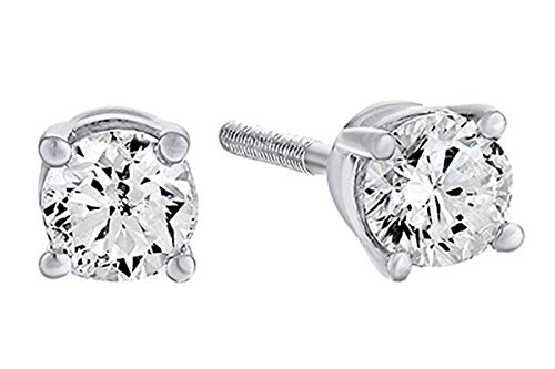 - 10K Solid White Gold Natural Diamond Solitaire Stud Earrings With Screw Back (0.25 Ct) Free & Fast Shipping