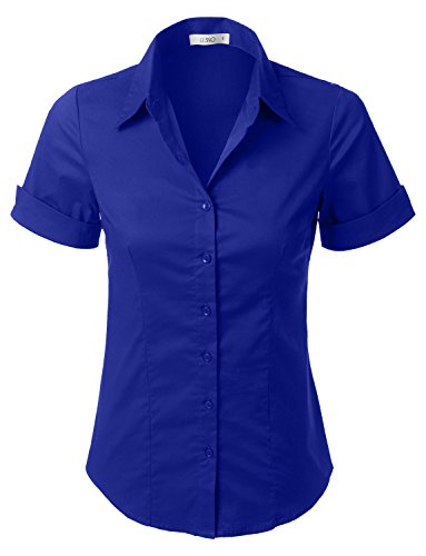 (LE3NO Womens Tailored Short Sleeve Button Down Shirt with Stretch,L3nwt575_royalblue,X-Large)