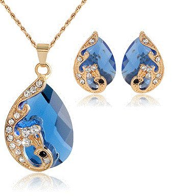 18k Yellow Gold Plated Blue Australian Crystal Wedding Jewelry Sets Earrings & (Mistral Set Ring)