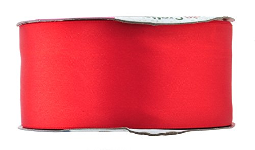 (Mandala Crafts Fabric Satin Ribbon for Hair Bow Making, Sewing, Gift Wrapping, Flower Bouquets, Party Decorating, and Weddings (2 Inches 50 Yards, Red))