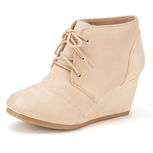 DREAM PAIRS Tomson Women's Casual Fashion Outdoor Lace Up Low Wedge Heel Booties Shoes Beige 9.5 B(M) US
