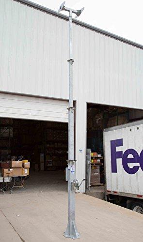 7-18' 4-Stage Light Mast - Cord Reel Mounting Plate - Wide Foundation w/ T-Head Mast - Reel Mast
