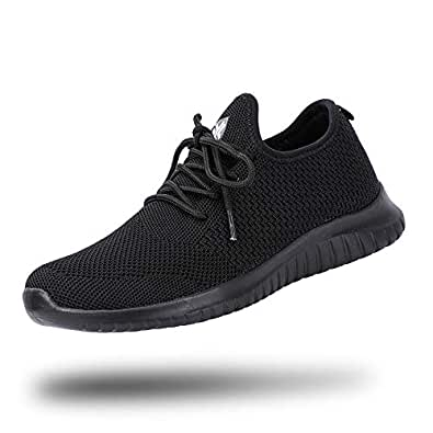 Aleader Women's All Black Work Shoes Comfy Knit Tennis Walking Sneakers All Black 5.5 (B) M US