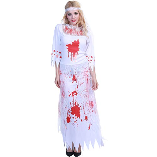Halloween Horror Costume Bloody Ghost Bride Cosplay Lace Wedding Dress Christmas Costume -