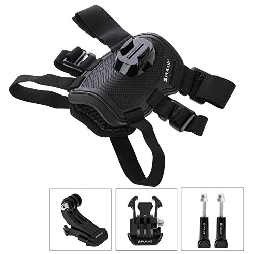 jiguoor Dog Harness Mount for Action Camera, Adjustable Pet Dog Harness Neck and Back Mount Compatible with Action Camera (Black)