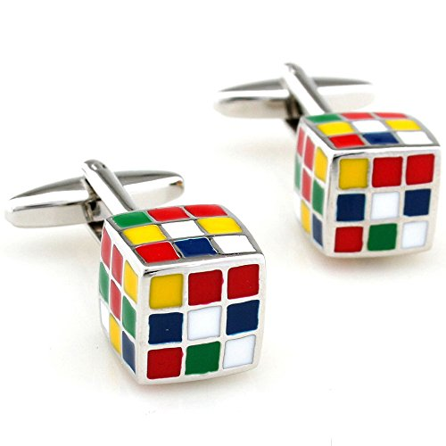 Show Your Personality Cuff Link Colorfuly Magic Cube Shaped Business Office Dress Cufflinks One Pair