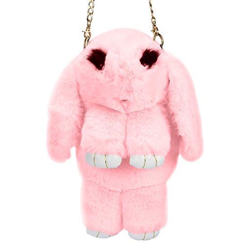 (Evaliana Bunny Faux Rabbit Fur Crossbody Handbag Shoulder)