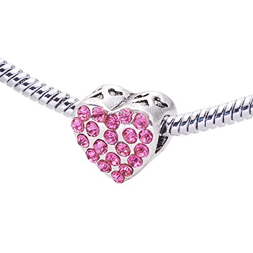 (Birthstone Swarovski Elements Crystal Heart Love Cheap Bead With Angel Fits Pandora Chamilia Bracelets)