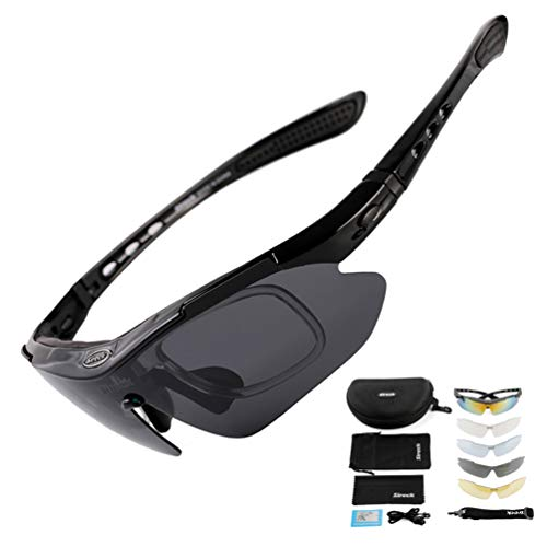 Sireck Sports Sunglasses + 5 Lenses - Polarized Sunglasses - Outdoor Golf Hiking Fishing Cycling Sunglasses Bike Bicycle Glasses Eyewear For Men Women (Black)