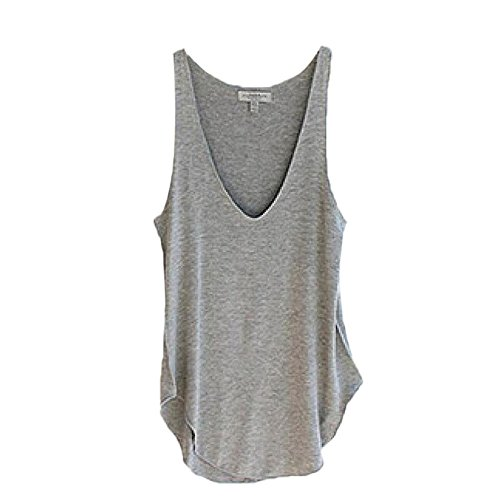 Jasmine Costume Pattern (KESSE☀☀ Fashion Summer Woman Lady Sleeveless V-Neck Candy Vest Loose Tank Tops T-shirt (Gray))