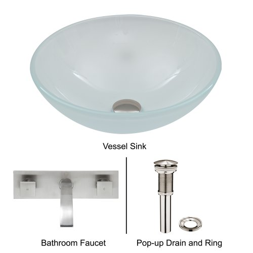 Vigo White Frost Vessel Sink And Titus Wall Mount Faucet