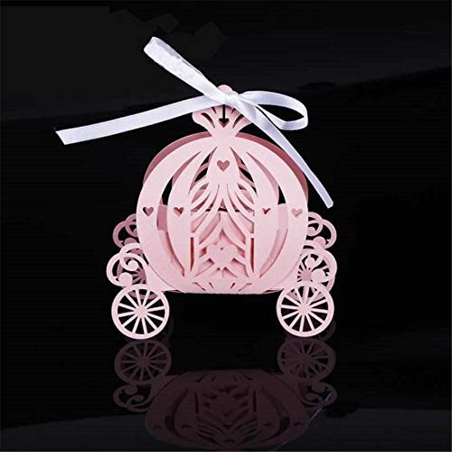 JONARO 50pcs Laser Cut Pumpkin Carriage Wedding Candy Favor Box,Pearl Color Paper Candy Box,Baby Shower Birthday ()