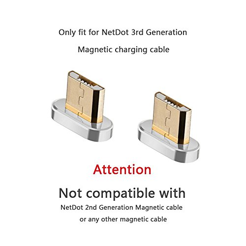 Add On Micro USB Connector Compatible with NetDot 3rd Generation Magnetic Cable (Micro USB connectors/no Cord)