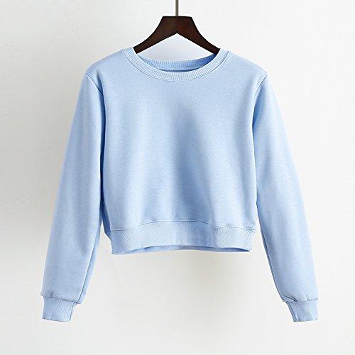 LGK&FALes femmes Automne Hiver Sweatshirt Rose Coton Cachemire Chandail Court nombril Taille femme coréenne avec Head Set Loose All-Match marée étudiants manteau dhiver,M,Blue
