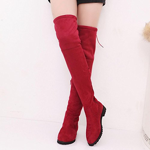 Botas Se Trim Rojo Botas Planas Mujeres Manadlian Botas La Hebilla oras Zapatos Delgada Manadlian Mujer Rodilla Sobre Botas T6wq5qx