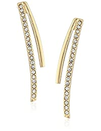 Laundry by Shelli Segal Pave Curved Stick Gold Drop Earrings