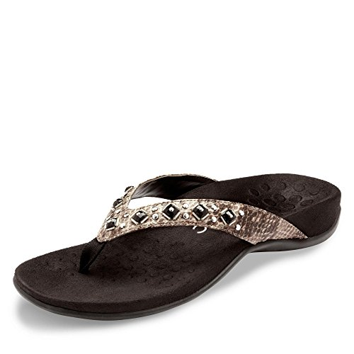 - Vionic Women's Rest Floriana Toepost Sandal - Ladies Flip Flops with Concealed Orthotic Support Grey Snake 6 W US