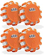 EUROXANTY Magnetisch led-noodlicht, hoge helderheid, geschikt voor auto's en motorfietsen, geschikt voor regen en sneeuw, 10,5 x 10,5 x 3,5 cm, 4 stuks